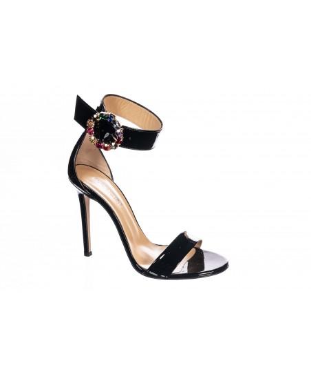 Sandale Diana: Vernis Noir à bride Bijoux & talon fin