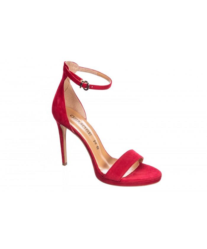 Sandale Sabrina : Daim Rouge Ajouré & Talon