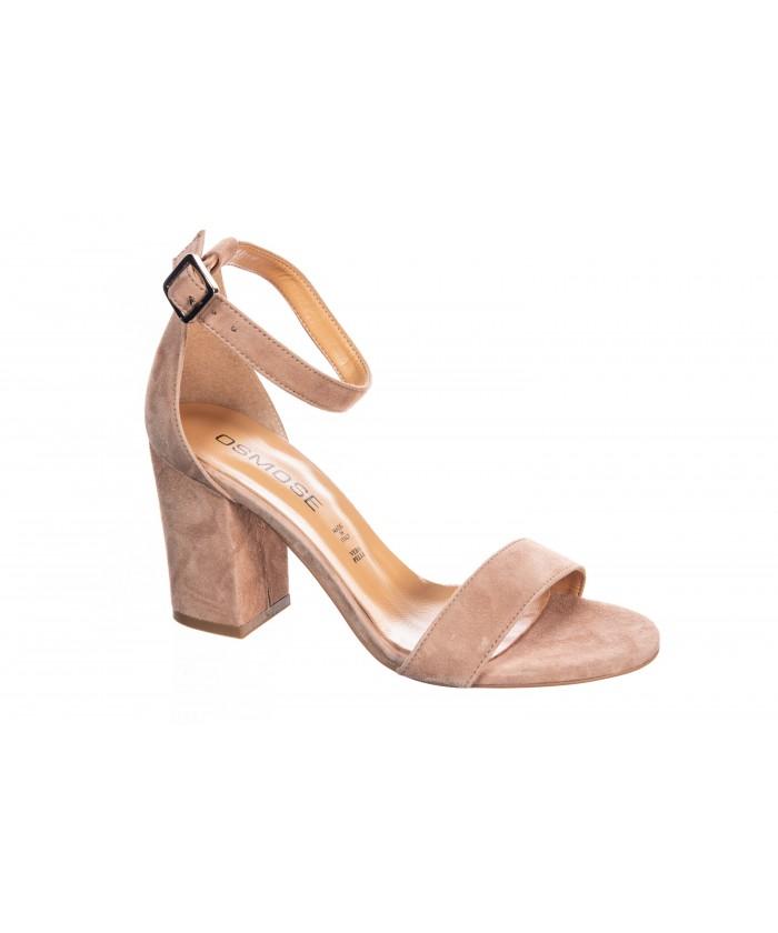Sandale talon Daim Rose Poudre à Bride et à talon