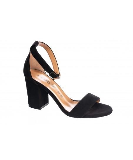 Sandale Talia: Daim Noir à Bride & talon carré