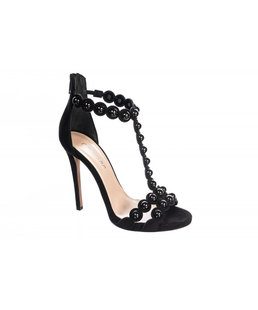 Sandale : Daim Noir à clou & Talon Fin