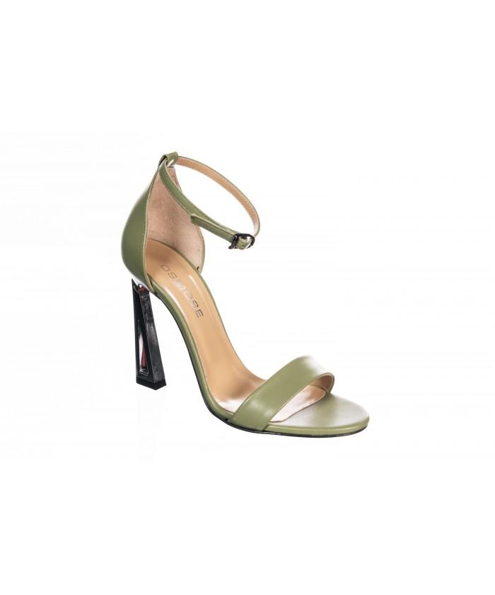 Sandale : Cuir Vert à Bride & Talon Graphique