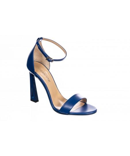 Sandale Mila: Cuir bleu Roi à Bride & Talon Graphique