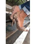Escarpin Julietta: Effet python camel à talon fin