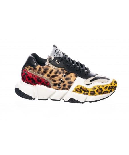 Basket Diana : Poulain Leopard & Zebre Multicolor à semelle gomme