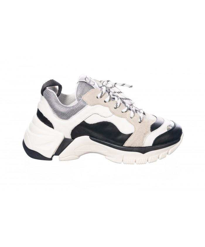 Basket Zina: Cuir Blanc & Noir à Semelle Layer