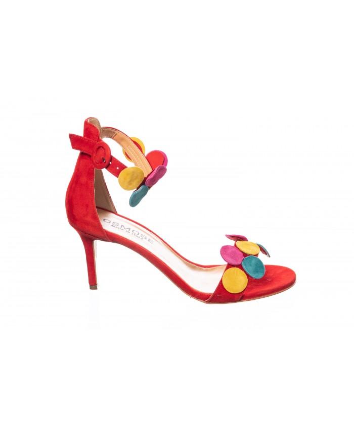 Sandale Azalé : Daim Rouge à Pastille Multicolor à Petit Talon