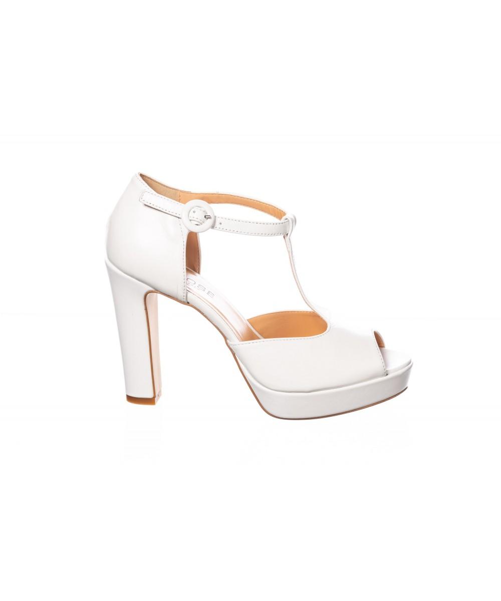 Talon Shoes Paris Dans Le Femme En Blanc Donnez Osmose Carré À Sandale 3R45cLqjA