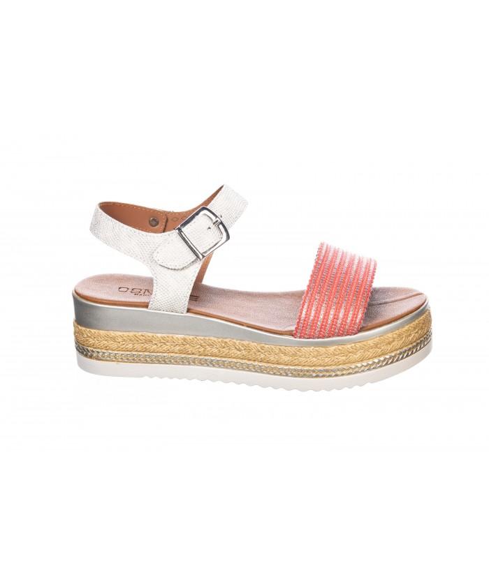 Sandale Cuir Corail à Plateforme Tressé