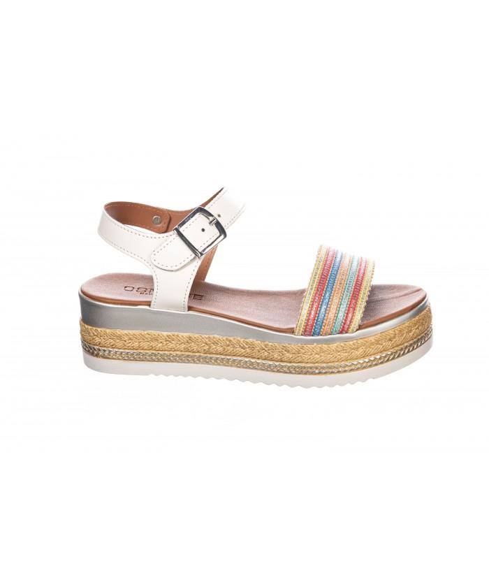 Sandale : BLANC Multicolor à Plateforme