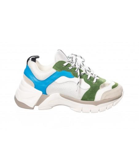 Basket Rania : Cuir & Tissu Vert et Bleu Semelle Layer