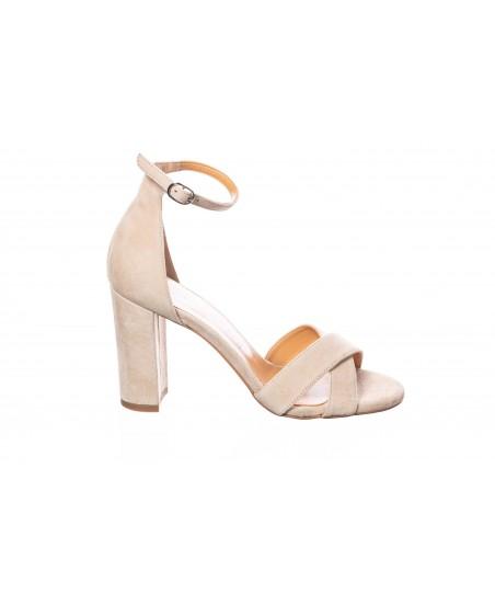 Sandale Julia : Daim cuir Beige à talon carré