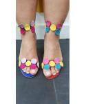 Sandale Azalé: Daim Bleu à cercle daim multicolore & petit talon fin