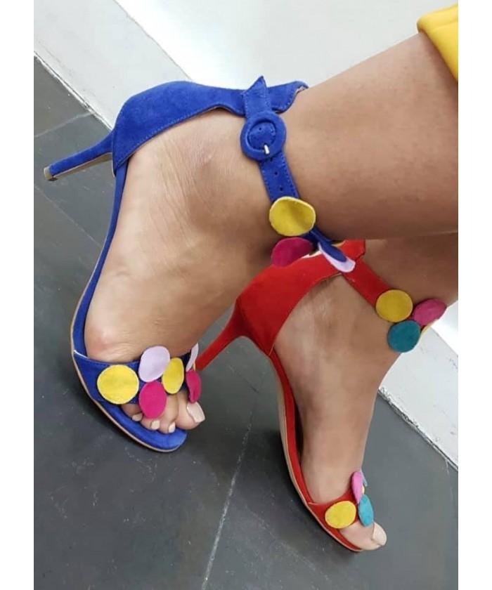 Sandale Mac : Daim Bleu à cercle daim multicolore & petit talon fin