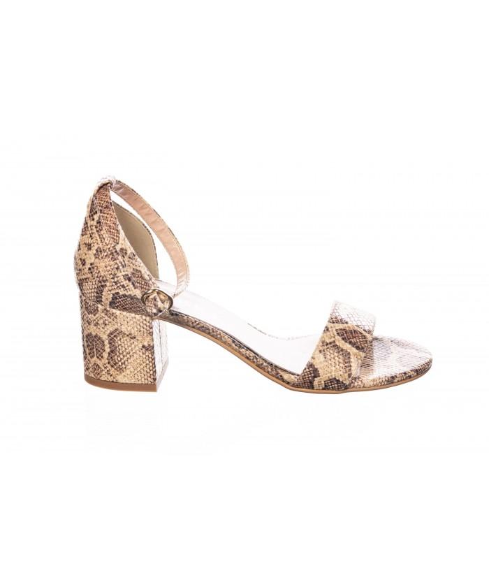 Sandale : Python Camel & Petit Talon Carré