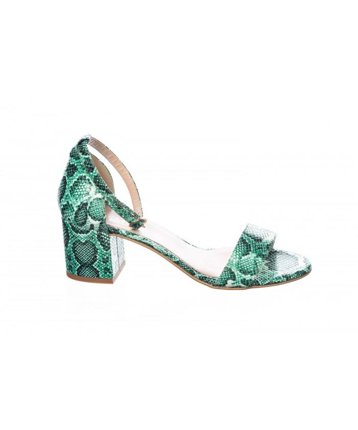 Sandale : Python Vert & Petit Talon Carré