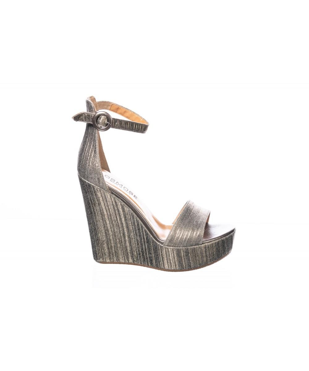 Sandale : Bronze Plissé à Talon Compensé