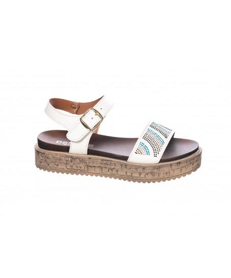 Sandale : Cuir blanc à Strass Multi-Color & Plateforme