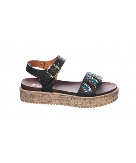 Sandale : Cuir Noir à Strass Multi- Color & Plateforme