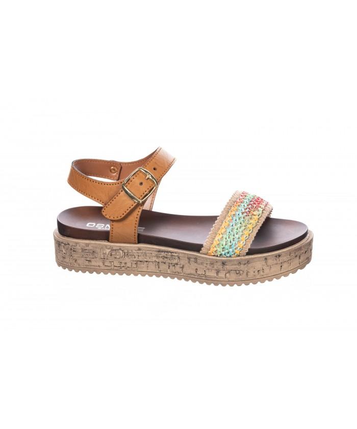 Sandale : Cuir Camel Multi-Color Tressé à Plateforme