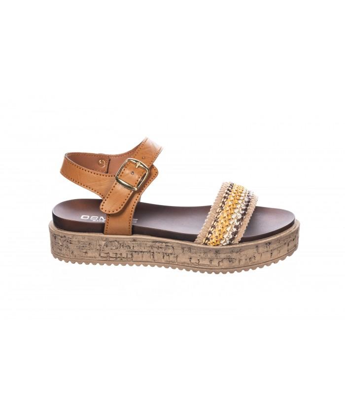 Sandale : Cuir Camel Tressé à Plateforme