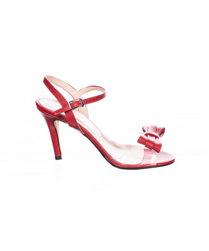 Sandale Anais : Cuir & Rouge Plexi à Noeud