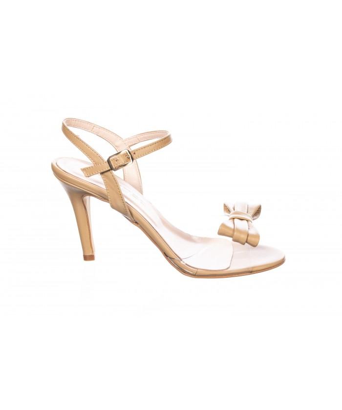 Sandale Anais : Cuir & Beige Plexi à Noeud