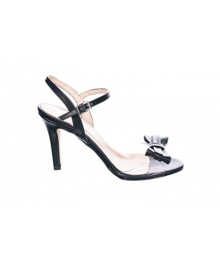 Sandale Anais : Cuir & Noir Plexi à Noeud