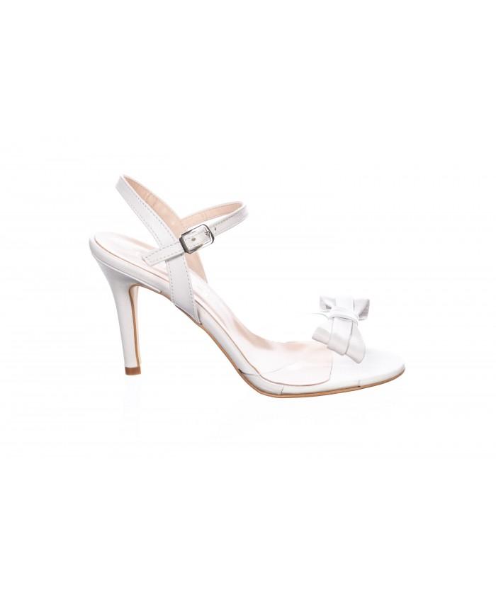 Sandale : Cuir & Beige Plexi à Noeud