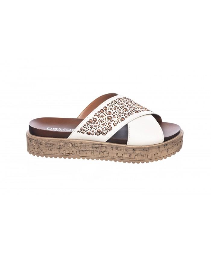 Sandale : Cuir blanc à Clou & Semelle Plateforme