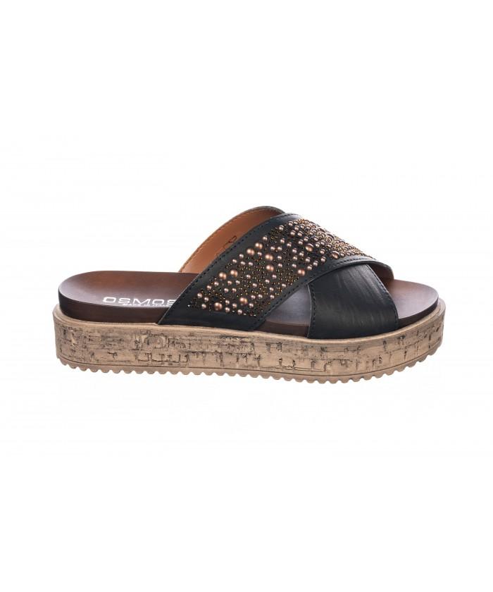 Sandale : Cuir Noir à Clou & Semelle Plateforme