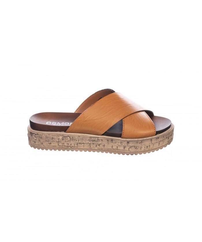 Sandale : Cuir Camel à Clou & Semelle Plateforme