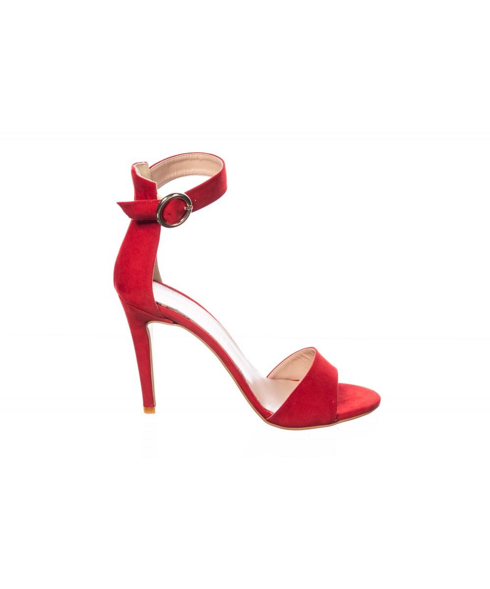 Sandale : Daim Rouge à Bride & Talon Fin