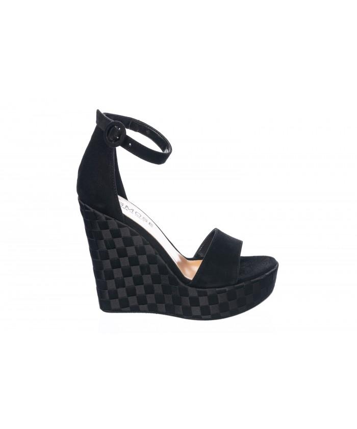 Sandale : Daim Noir à Semelle Compensé