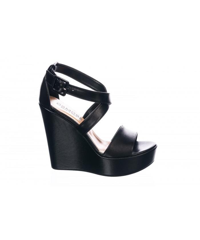 Sandale : Cuir Noir & Semelle Plateforme