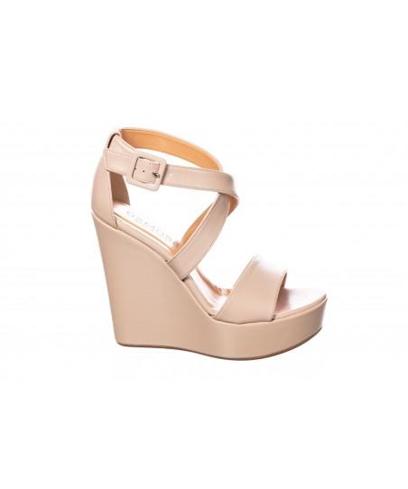 Sandale : Cuir Beige & Semelle Compensé