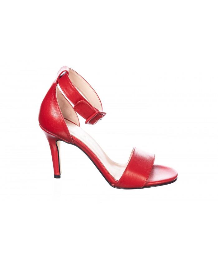 Sandale : Cuir Rouge à Brides & Talon Fin