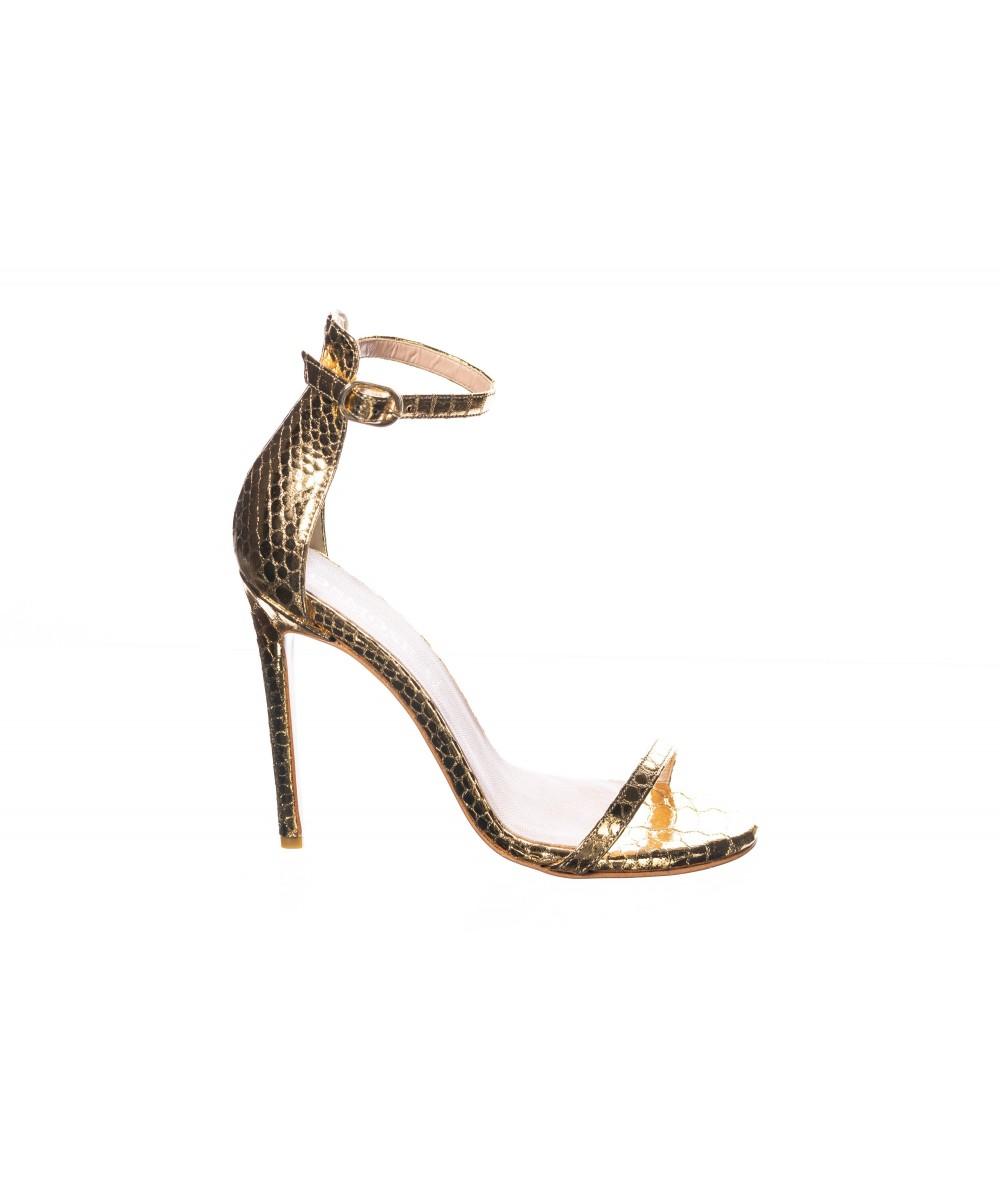Sandale : Python Platiné à Fine Brides & à Talon Fin