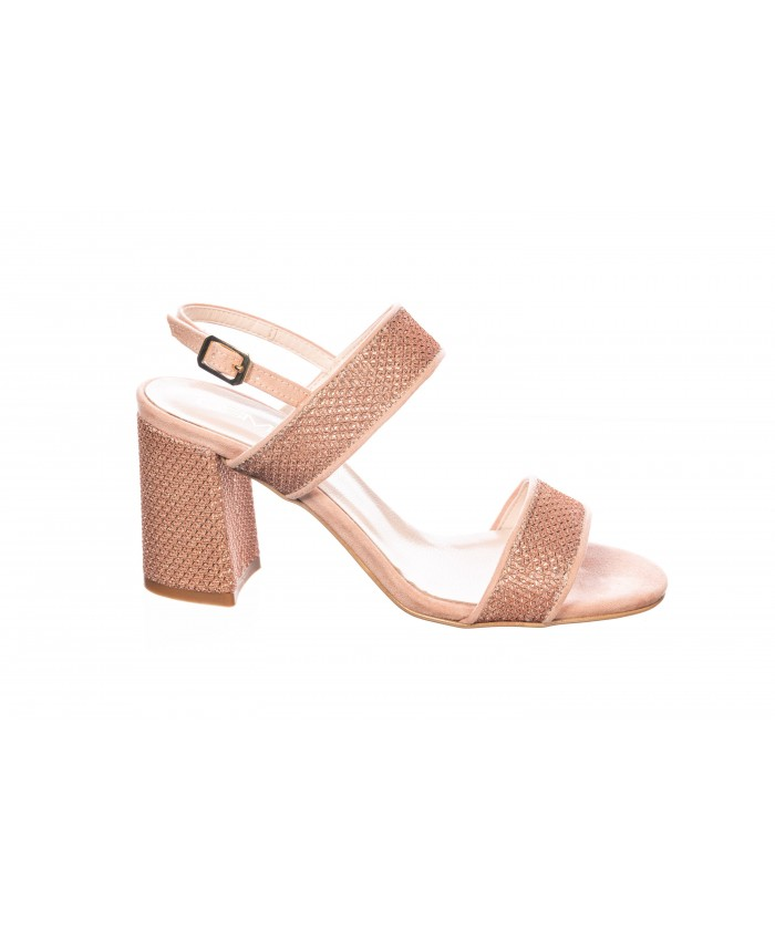 Sandale : Beige Glitter à Bride & à Talon Carré
