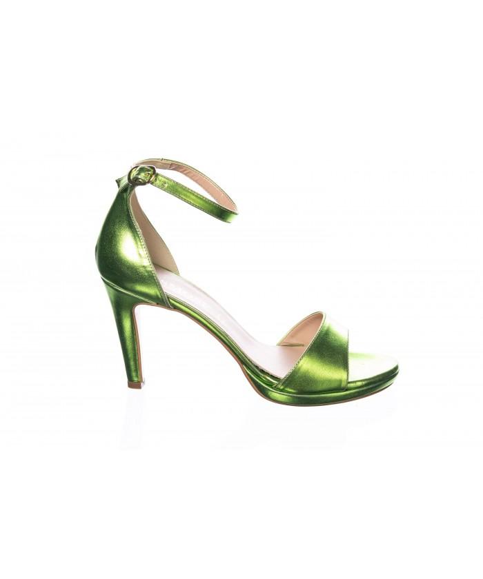 Sandale Johanne: Laminé Vert à Bride & Talon
