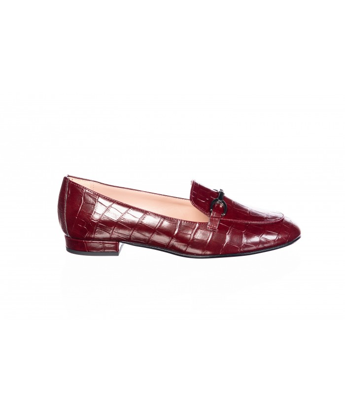 Mocassin : Croco Bordeaux