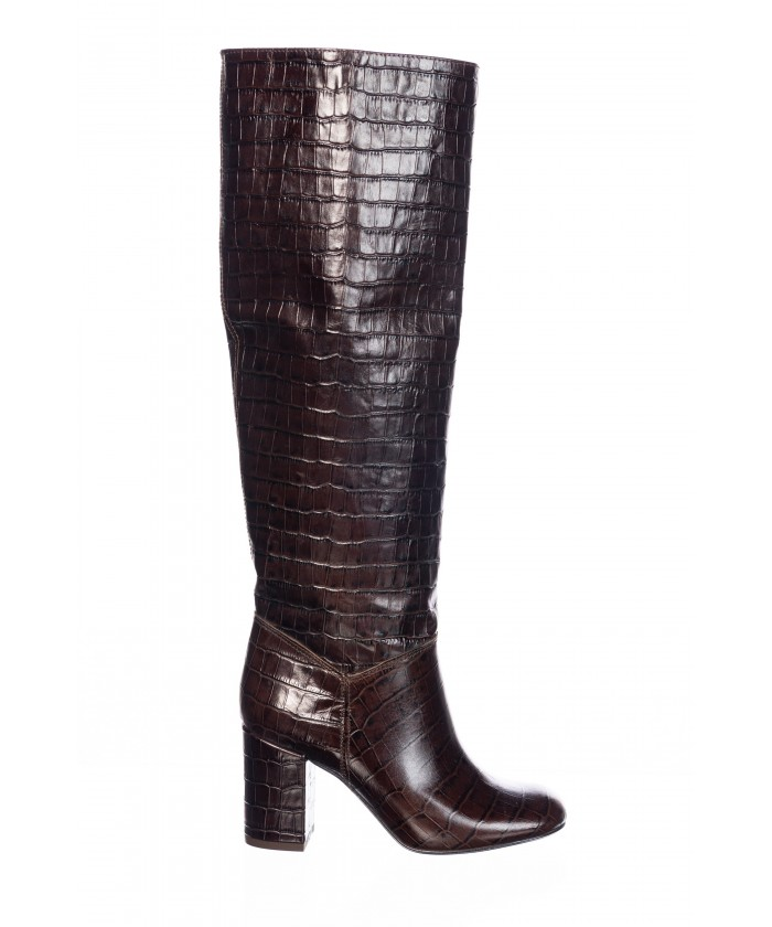 Botte Fanny : Croco Marron à Bout Rond & Talon carré