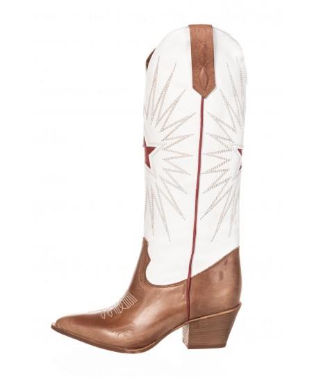 Bottes Santiag Anissa: Cuir Camel & Blanc avec Etoile Rouge