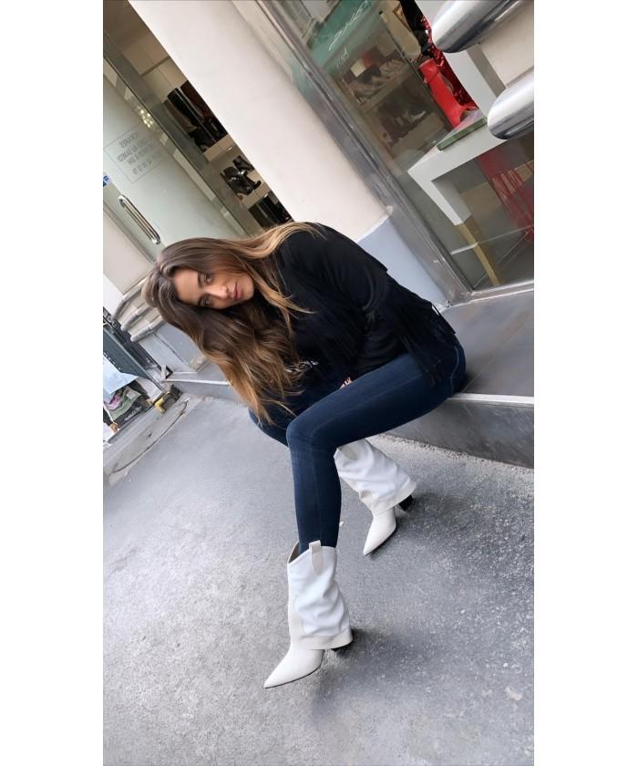Bottine Emma : Cuir & Daim Ecru à talon biseauté