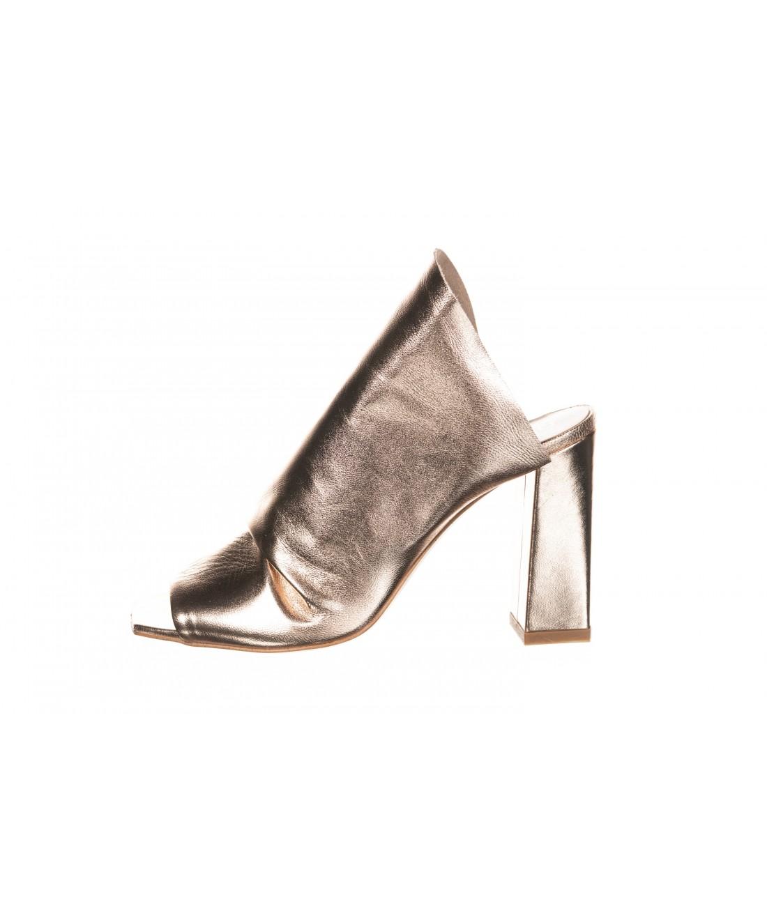 sandale moderne signée OSMOSE paris : mule laminé saumon à