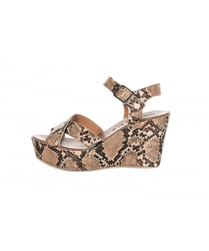 SANDALE COMPENSEE CUIR PYTHON CAMEL