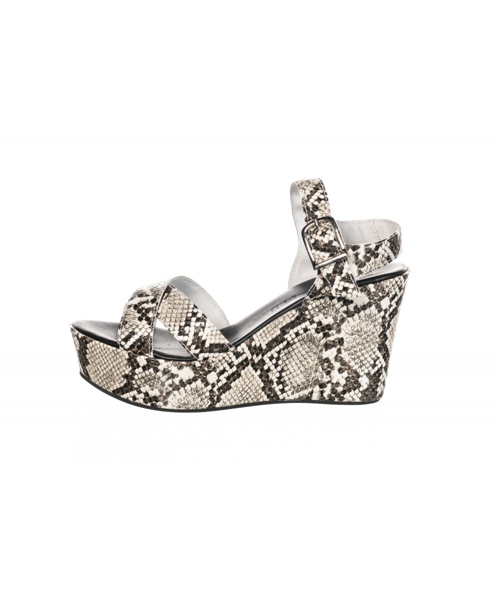 SANDALE COMPENSEE CUIR PYTHON BIANCO