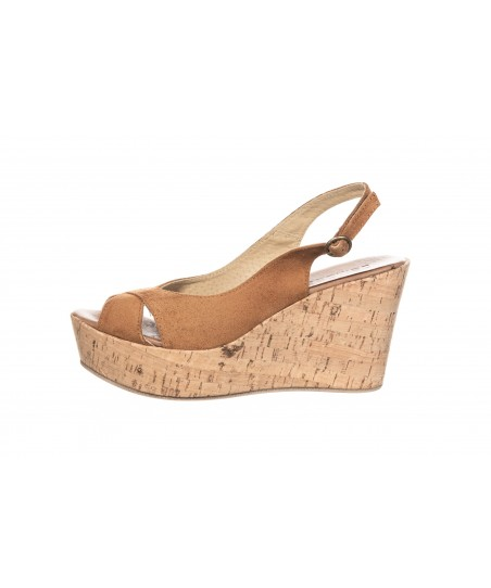 Sandale Compensée Daim Cognac