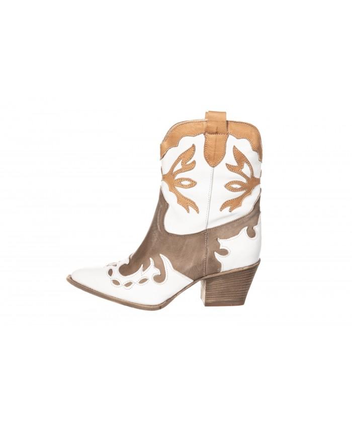 Boots Santiag Sam : Cuir Blanc, Beige & Camel à talon biseauté