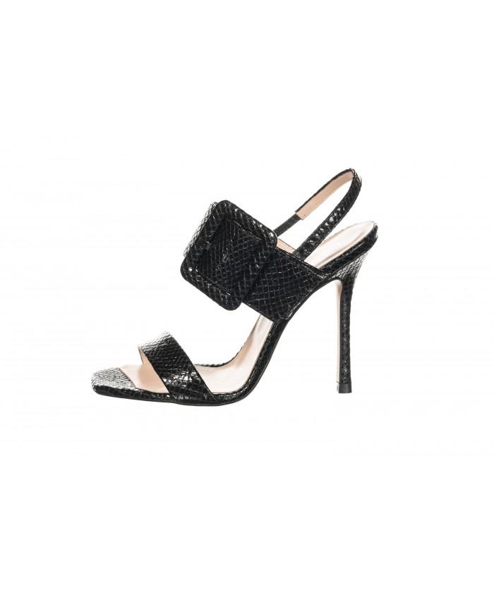 Sandale à talon python cuir noir